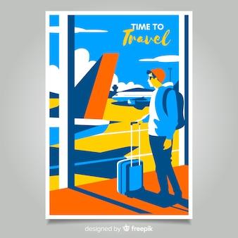 평면 빈티지 홍보 여행 포스터