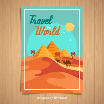 Manifesto di viaggio promozionale vintage piatto