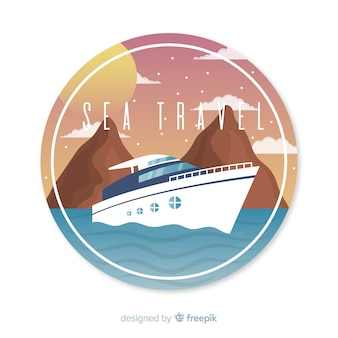 Flat vintage travel background