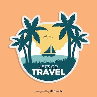Flat vintage travel background