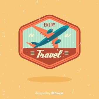 Flat vintage travel label background