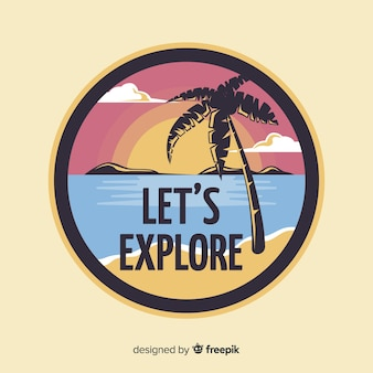 Flat vintage travel label background