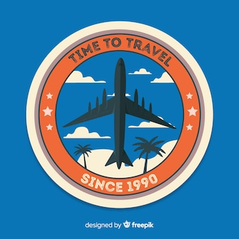 Flat vintage travel label badge