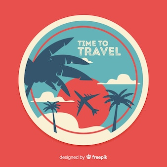 Flat vintage travel label with palms and sun