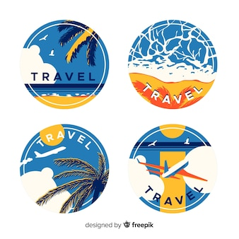 Flat vintage travel labels