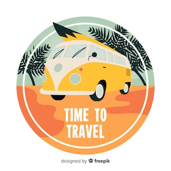 Flat vintage travel logo