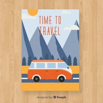Flat vintage travel poster template