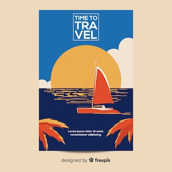 Flat vintage travel poster template