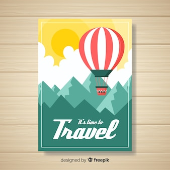 플랫 빈티지 여행 포스터 템플릿