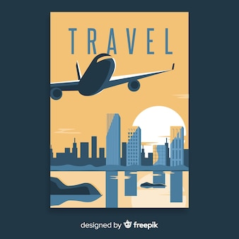Flat vintage travel poster with airplane