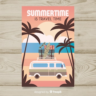 Flat vintage travel poster with a van