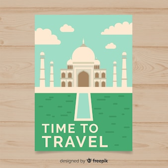 Flat vintage travel poster