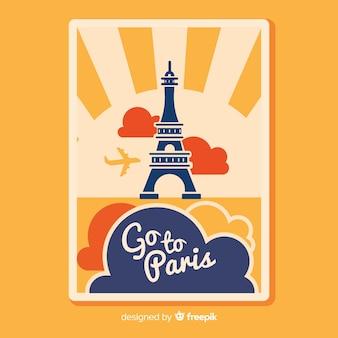 Плоский винтажный путешествующий плакат