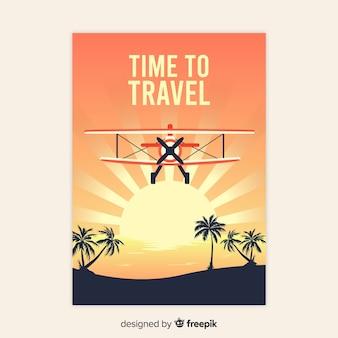Flat vintage traveling poster
