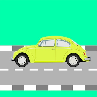 Flat vw beetle vector