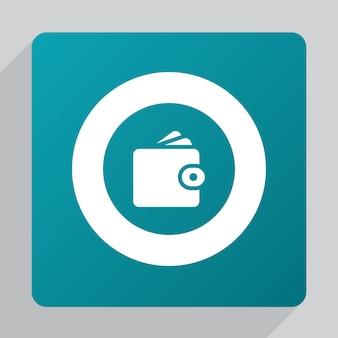 Flat wallet icon, white on green background