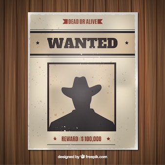 Flat wanted poster with silhouette