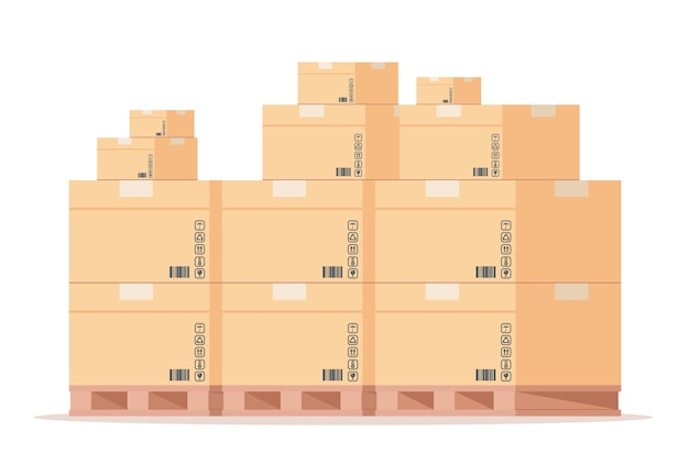 Flat warehouse cardboard packages stack