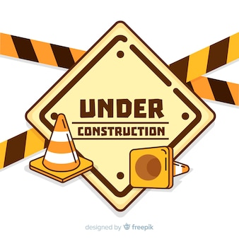 Flat warning construction sign background
