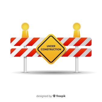 플랫 경고 건설 사인 배경