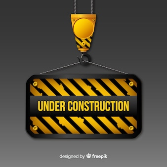 Flat warning construction sign background