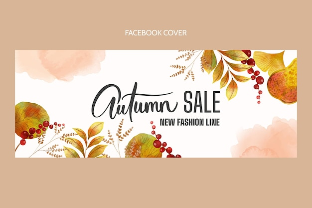 Flat watercolor autumn social media cover template