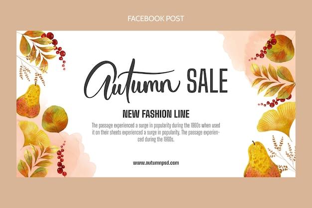 Modello di post sui social media autunno acquerello piatto