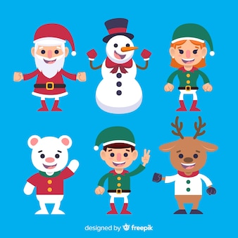 Flat waving christmas characters collection