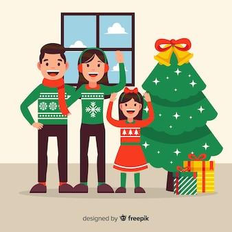 Flat waving family inside christmas background