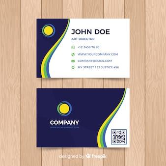 Flat wavy business card template