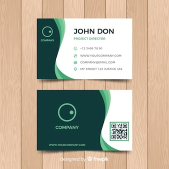 Flat wavy business card template