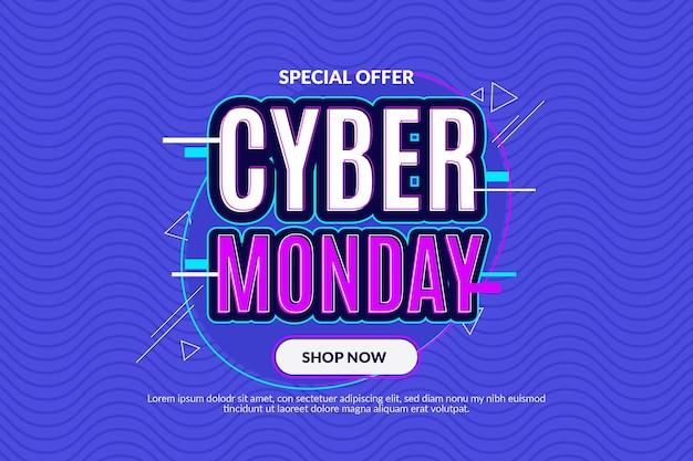 Sfondo di lunedì cyber piatto ondulato