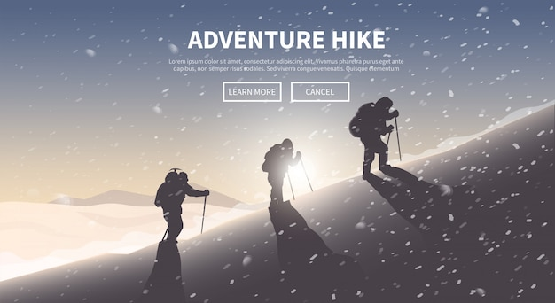 Flat  web banner. hiking.