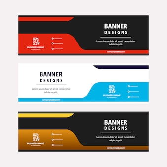 Flat web banners template with diagonal elements.