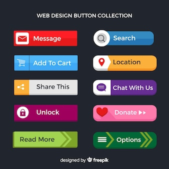Flat web button collection