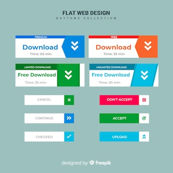 Flat web button set