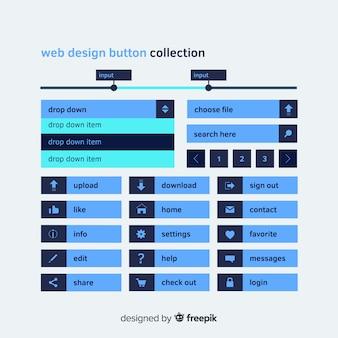 Flat web button set