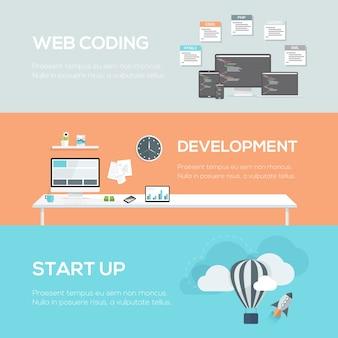 フラットなwebデザインのコンセプト。 webコーディング、開発、およびスタートアップ。