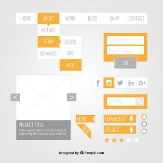 Elementi piani di web design con dettagli gialli