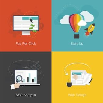 플랫 웹 개발 인터넷 비즈니스 개념 벡터 세트