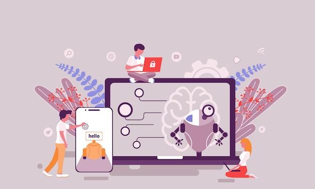 Плоский дизайн веб-страницы шаблона искусственного интеллекта домашней страницы
