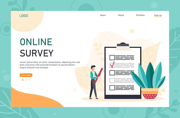Flat web page template design with online survey concept. internet questionnaire form. man fills out the giant clipboard checklist and check mark ticks. flat vector illustration.