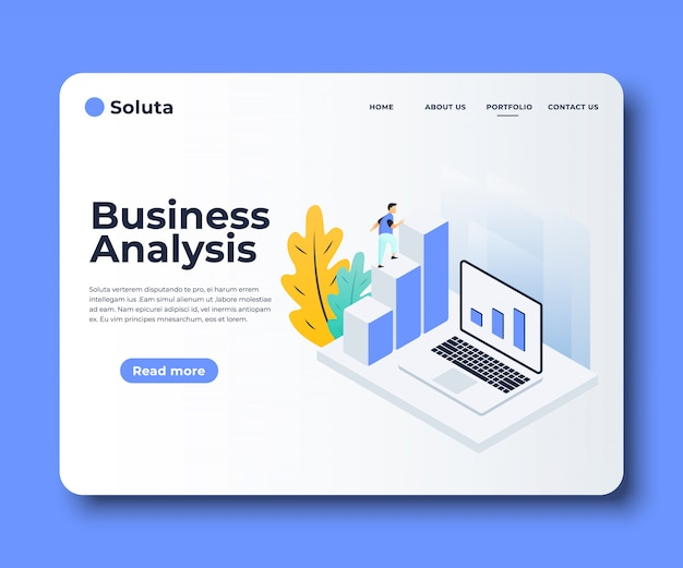 Flat web page templates of market analysis, business solution