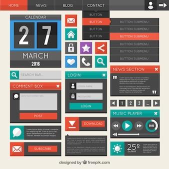 플랫 웹 사이트 디자인 요소 컬렉션