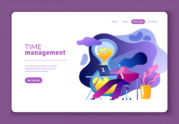Flat website template about effective time management