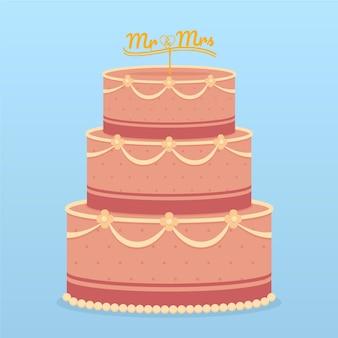 토퍼와 플랫 웨딩 케이크