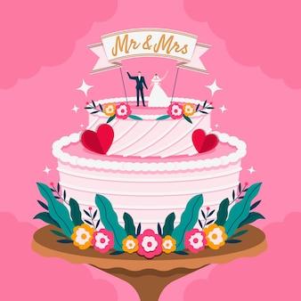 Плоский свадебный торт с топпером