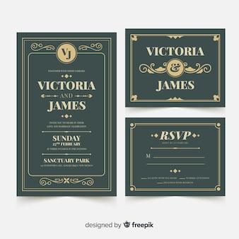 Flat wedding card template