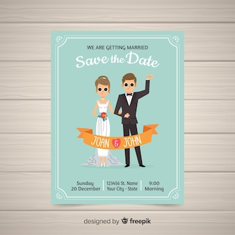 Flat wedding card template