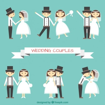 Flat wedding couple in different poses